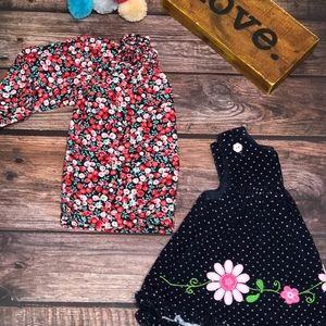 🌸 Navy & Pink Polka Dot 🌸Corduroy Dress 3-6 Mos